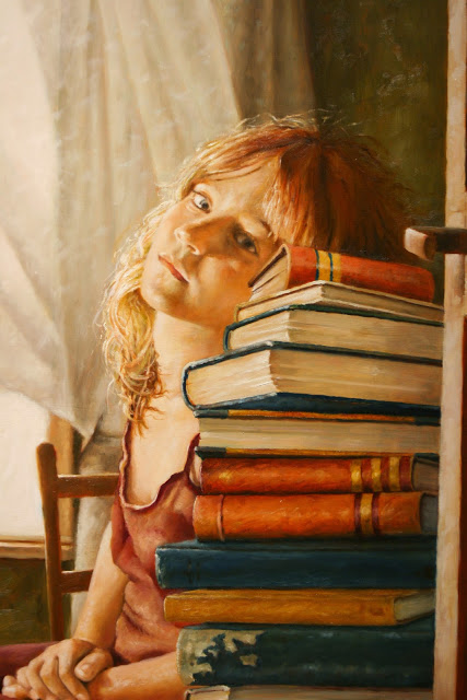 "Detail of painting by Jeff Weekly, ""Girl Behind the Books,"" Bainbridge Island Museum of Ar"