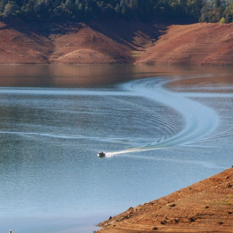 Fishing boat on Shasta lake