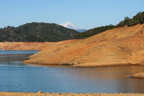 Mount Shasta peeking above Shasta Lake