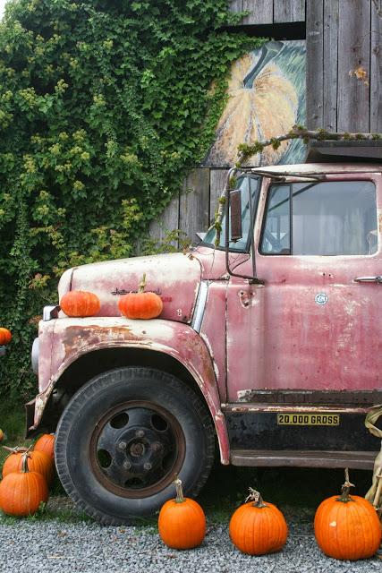 Vintage International Harvester truck, decorated with pumpkins