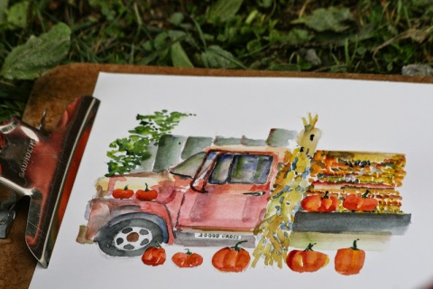 My watercolor sketch of the vintage International Harvester truck