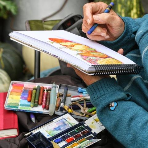 En plein air painting and sketching at the Gordon Skagit Farm