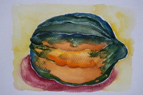 Watercolor sketch of acorn squash