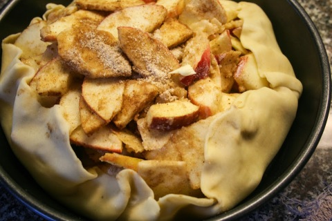 Apple pie from windfall apples, ready to go in the oven for supper