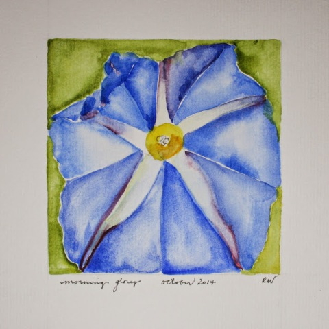 Watercolor sketch  of blue morning glory