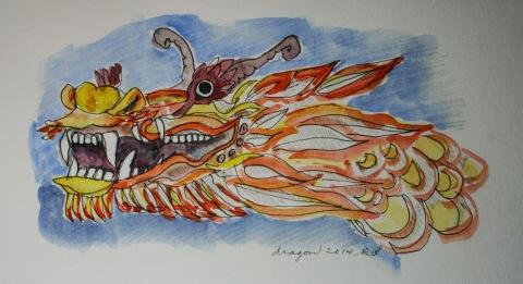 Watercolor sketch of a dragon