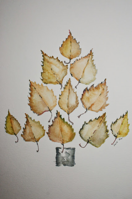 Watercolor sketch, tree of birch leaves