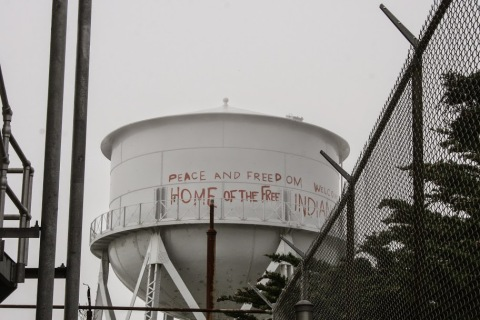 The water tower still showed signs from the 1969 - 71 occupation of Alcatraz by the Indians of All Tribes, a significant event in Native American history