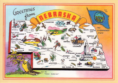 Vintage postcard of Nebraska