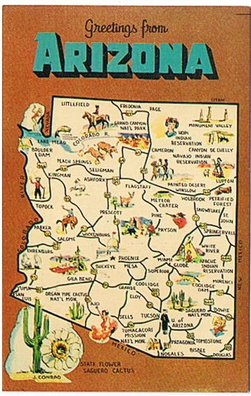 Postcard with map of Arizona