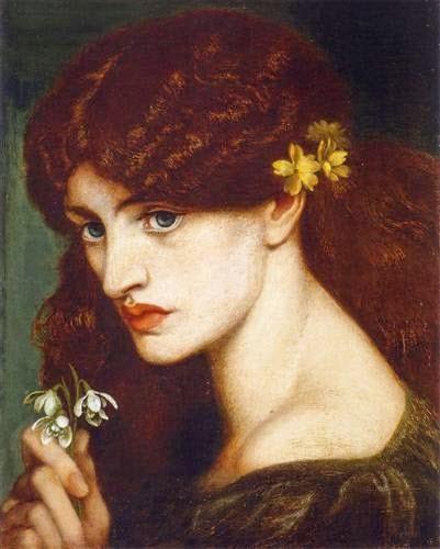 Blanzifiore (Snowdrops) by Dante Gabriet Rossetti, 1880.  Source: Wikiart