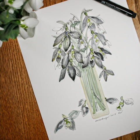 Watercolor sketch of snowdrops in a vase