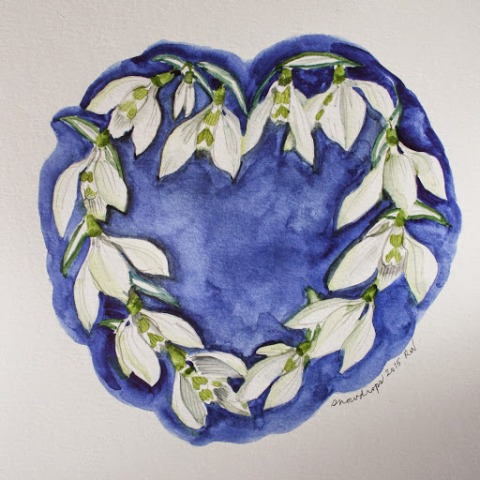 Watercolor sketch of snowdrops