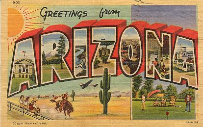 Vintage postcard of Arizona