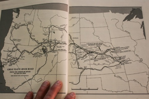 Map showing the trails west along the Platte River from Platte River Narratives by Merrill J. Mattes