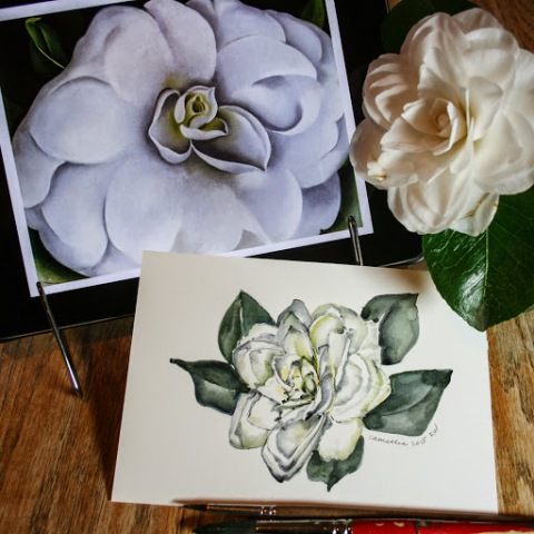 This time I used Georgia O'Keeffe's pastel of a White Camellia for inspiration.