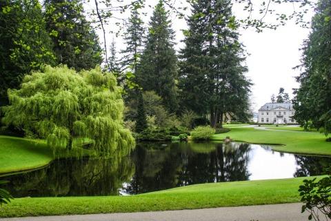 Bloedel Reserve on Bainbridge Island, Mid pond and residence