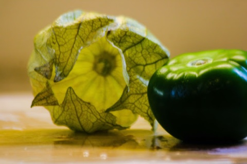 Tomatillo with outer skin off
