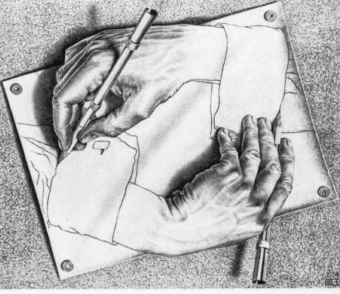 """Drawing Hands"" by M. C. Escher"