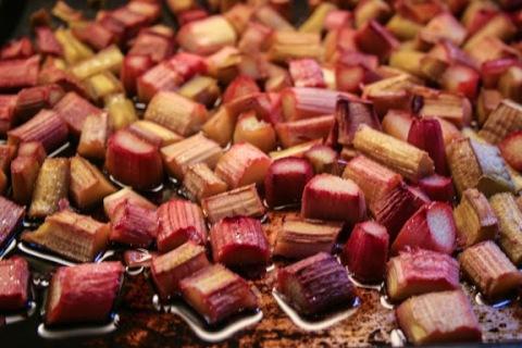 Oven-roasted rhubarb