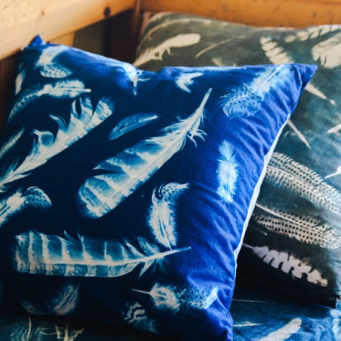 Sample sun print pillows from Blueprints on  Fabric