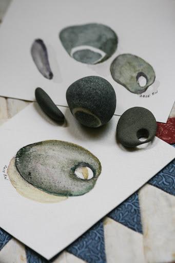 Watercolor sketches of favorite pebbles