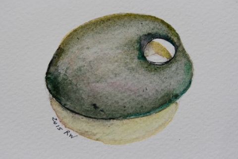 Watercolor sketch of pebble with a hole in it
