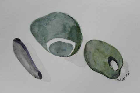 Watercolor sketch of pebbles