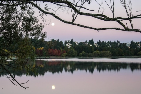 Moon over Green Lake