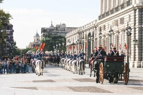 Royal Horse Guard on parade, Palacio Real, Madrid