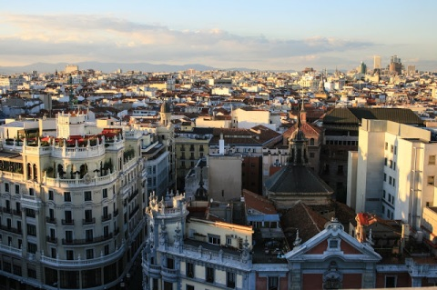 Bird's eye view of Madrid from the rooftop terrace of Circulo de Belles Artes