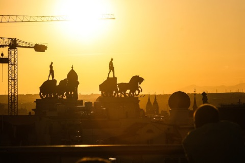 Sunset from the rooftop terrace of Circulo de Bellas Artes, Madrid