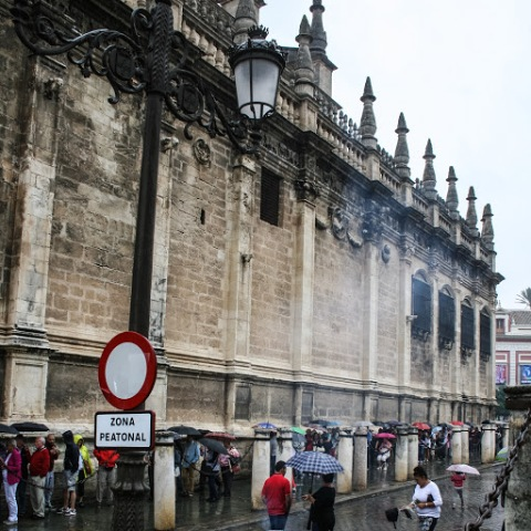 Long line outside the Seville Cathedral
