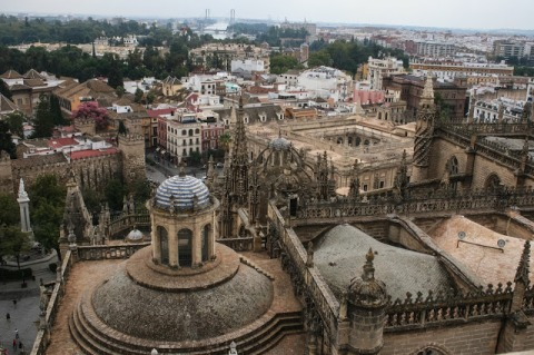 View down on the cathedral from La Giralda Tower