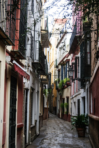 Typical narrow street in Barrio Santa Cruz, the old Jewish quarter