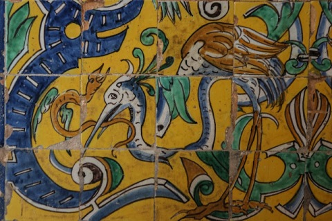 Crane tiles in the Banquet Hall, Alcazar