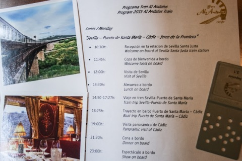 The itinerary for our first day on tour with Al Andalus