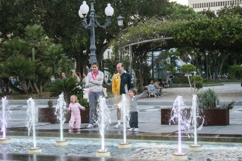 Family playing in fountain, Cadiz