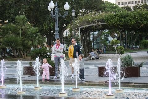 Family playing in fountain, Cadiz