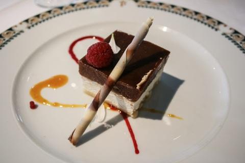 Dessert: wild fruits custard with white truffle and almond cake