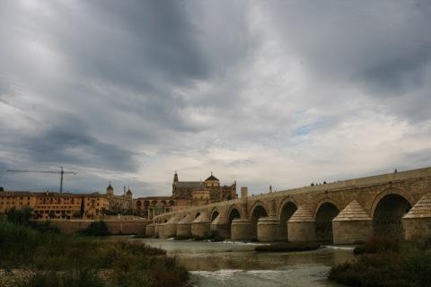 View of Cordoba's Mezquita from the old Roam Bridge across the Guadalquivir River