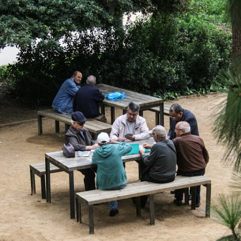 Playing cards in a park, Barcelona