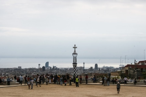 View of Barcelona from the terrace at Parque Guell