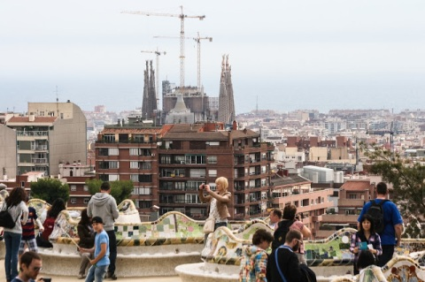 Parque Guell, terrace overlooking the city