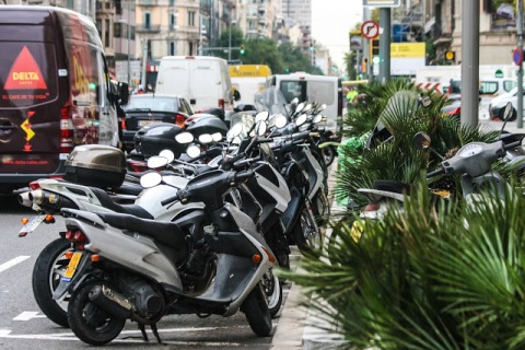 So many motor scooters in Barcelona