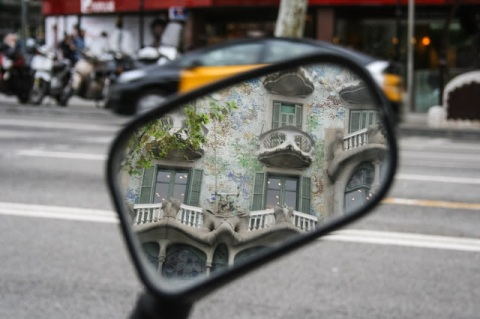 Reflection in scooter mirror