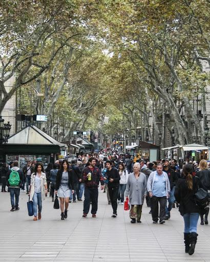 Las Ramblas, the famous pedestrian street in Barcelona