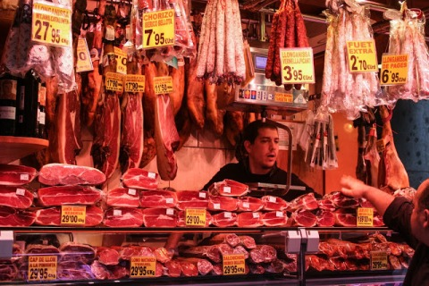One of many meat shops in the Mercat de la Boqueria in Barcelona