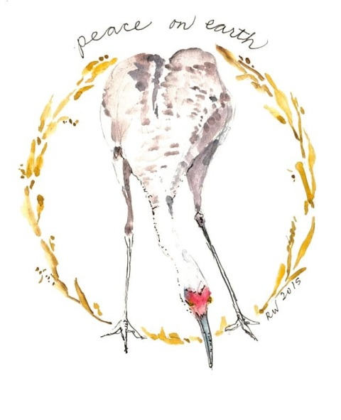 Watercolor sketch of sandhill crane as modified peace symbol