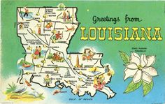 Vintage postcard of Louisiana